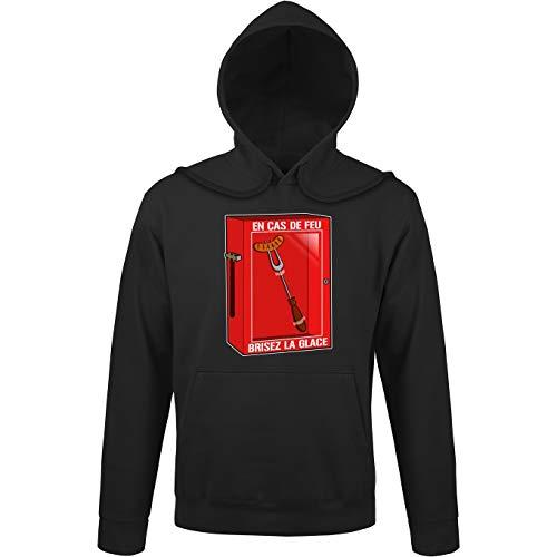 Okiwoki sweatshirt met capuchon zwart Funny Parodieën Geek - Humor: vuurschaal, brandt het ijs!! (Parodie Funny)