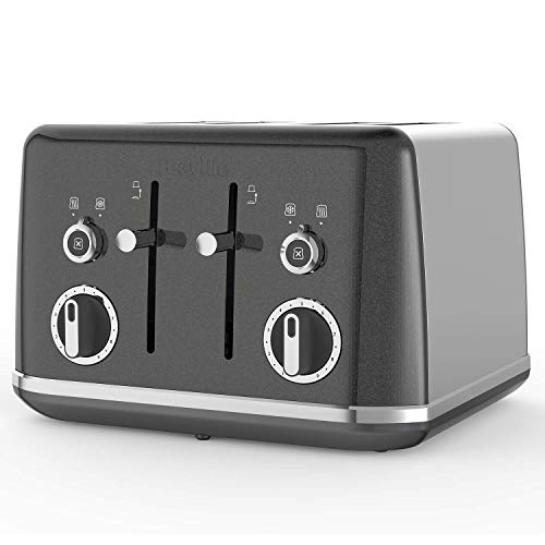 Breville Lustra 4-Slice Toaster with High Lift, Wide Slots and Independent 2-Slice Controls, Storm Grey [VTT853] (Renewed)