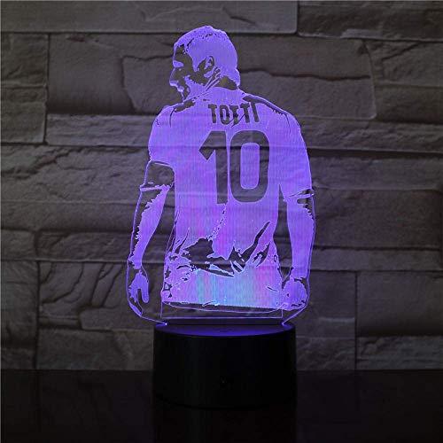 Smart Bluetooth Color Ambiance Luz portátil Lámpara de ilusión 3D Totti Jugador de fútbol Vista posterior Dibujar para decoración de dormitorio Regalo para novios Aficionados al fútbol
