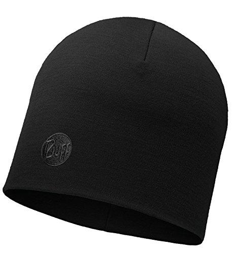 BUFF® SET - THERMAL HAT MERINO Bonnet de Hiver + UP® Tissu tubulaire   Laine mérino   Beanie   Logo   Respirante   Anti-odeur, alle Buff Designs 2016:257. SOLID BLACK Thermal Hat Merino