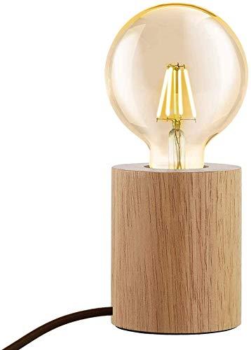 Mengjay Holz -Würfel Tischleuchte, Holz Tischlampe mit E27 Fassung, bis max.60W, Dekoleuchte für Edison retro industrial Glühbirnen,ohne Leuchtmittel für Wohnzimmer, Schlafzimmer und Büro