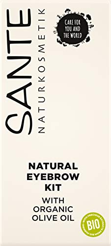 Sante Naturkosmetik Natural Eyebrow Kit, Set aus Augenbrauenpuder, Applikator, Bürstchen & Pinzette, Natural Make-up, Vegan, 2,4 g