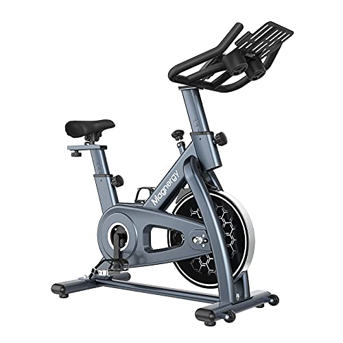 Magnergy Spin Bike, Magnetic Indoor Stationary Bike With LCD To-Plan Fitness Cadence Monitor, Tablet Holder w/ Dual Kettle, Belt Drive Exercise Cycling Bike - 300LBS Capacity