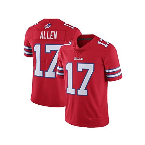 Herren Rugby Trikot Fußball Trikot-Buffalo Rechnungen # 17 Josh Allen QB-Rugby Fan T-Shirts Druck Mesh Polo Shirt Atmungsaktives Trikot Sportswear Fans Sweatshirt-red-XXXL-(above193)