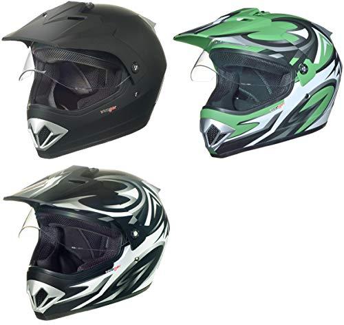 RX-963 Crosshelm Integralhelm Quad Cross Enduro Motocross Offroad Helm rueger, Größe:M (57-58), Farbe:Grün V/RCK