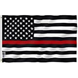 Anley Fly Breeze 3x5 Foot Thin Red Line USA Polyester Flag - Vivid Color and Fade Proof - Canvas Header and Double Stitched - American Honoring Firefighter Flags with Brass Grommets 3 X 5 Ft