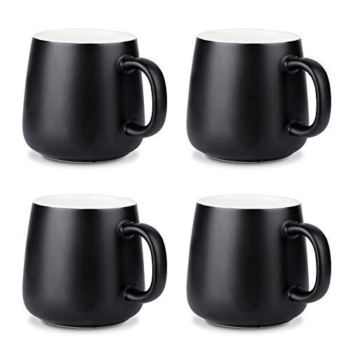 NEWANOVI Keramik Kaffeetasse Set, Kaffeetasse aus Porzellan in matt, Becher mit Griff, für Heißgetränke, Kaffee, Tee Milch, Kakao, Keramik Becher, 360ml, Set of 4, Schwarz