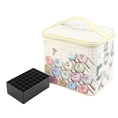 Estuche para lápices con rotulador, bolsa de lona con asa y base 80 agujeros, bolsa para escuela, oficina, papelería, soporte de almacenamiento adecuado para diferentes personas