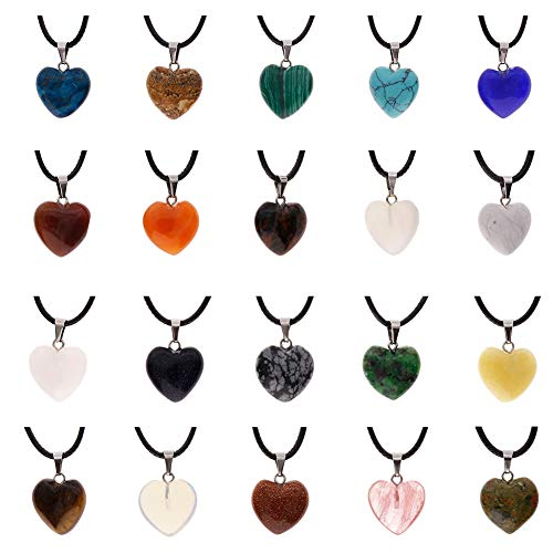 Auveach 20 Pz Pietra Pendenti Ciondoli Collana Multicolori in Cavo Cuore e Waterdrop 18 Pollici in Pietra Assortimento di Colori Chakra Perline Charms in Cristallo di Cuoio
