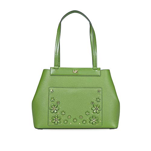 """100% Pebbled Leather. Gold-Tone Hardware 16""""W X 10.5""""H X 5""""D Handle Drop: 10.25"""" Exterior Details: Front Magnetic Slip Pocket. Interior Details: Back Zip Pocket, 2 Back Slip Pocket Lining: 100% Polyester. Snap Fastening. Dust Bag Included"""