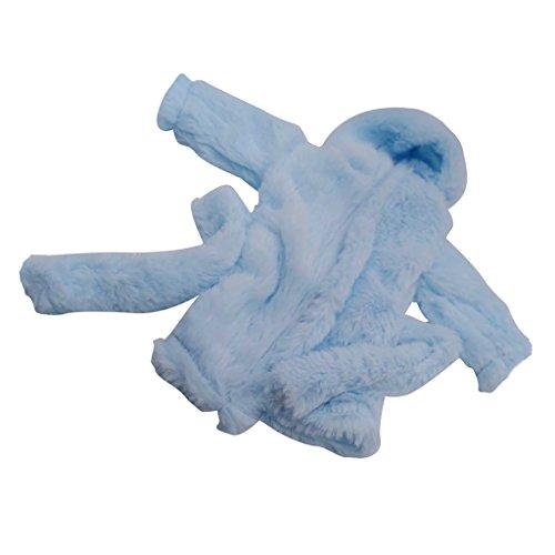 D DOLITY Puppen Kapuzen Bademantel Saunamantel Nachthemd aus Flanell Für 18 Zoll Doll - Blau