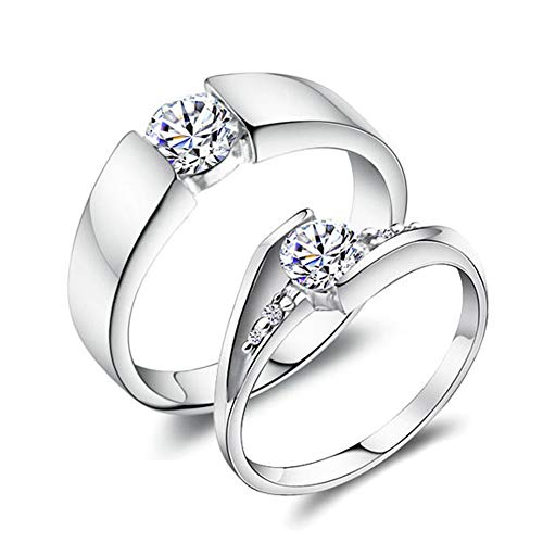 0,5 karaat Moissanite gesimuleerde diamanten verlovingsring, heren dames geplatineerd sterling zilveren ring trouwring beloven ring paren ring