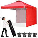 ABCCANOPY Canopy Tent 8x8 Pop Up Canopy Outdoor Canopies with Sun Wall Tent Popup Beach Canopy Shade Canopy Tent with Wheeled Carry Bag Bonus 4xWeight Bags,4xRopes&4xStakes,Red