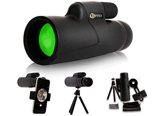 JDOPTICS Starscope Monokular 12x50 Hochauflösendes - Monocular Teleskop mit Smartphone Halter und Stativ, Wasserdichtes Fernrohr ist perfekt für Camping, Spiele im Freien, Vogelbeobachtung & Jagd