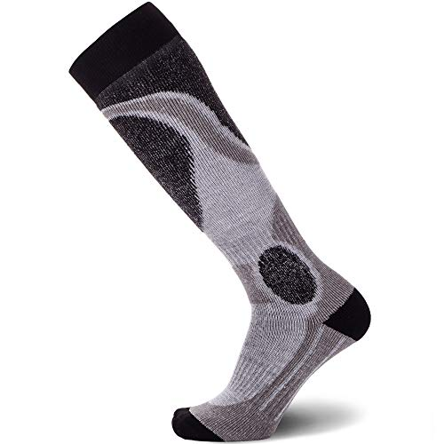 Pure Athlete Elite Ski Socks – Lightweight Merino Wool Warm Skiing Sock for Men and Women (Black, X-Large)