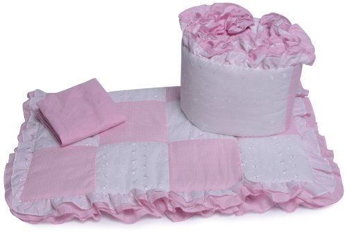 Baby Doll Bedding Gingham Cradle Bedding Set, Pink
