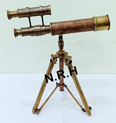 Vintage Vintage Vintage - Telescopio náutico de piel de latón antiguo para mesa