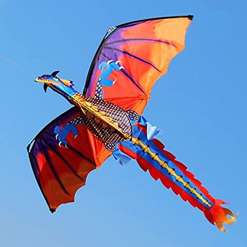 Lenkdrachen Drache Kite Drachen Drachen 140X160cm Roter Nylon 3D Drachendrachen mit Schwanzdrachen für Erwachsene Drachen, die im Freien 100M/200M Drachenschnur fliegen Flugspielzeug TREEECFCST0715(C
