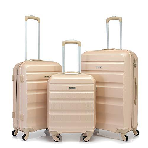 BONTOUR Hard Shell Suitcase 4 Wheels Trolley Suitcase Lightweight Travel Suitcase