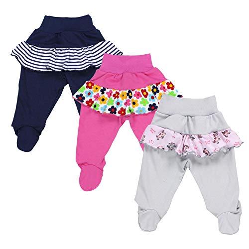 TupTam Pantalón con Pies de Bebé para Niña, Pack de 3, Mix de Colores 2, 56