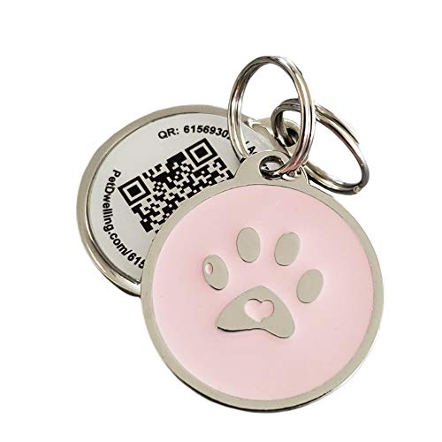 PetDwelling 2D Pink Paw QR Code Pet ID Tag Links to Online Profile/Emergency Contact/Medical Info/Google Map Location Stamp