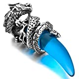 INBLUE Dragon Wolf Tooth Pendant for Men Boys Women Stainless Steel Cool Necklaces Simulate Crystal Gemstone Boyfriend Gifts Jewelry with 23 Inches Chain (Dragon, Blue)