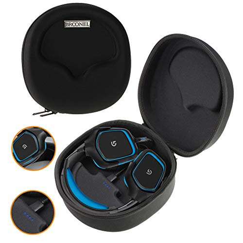 Navitech Black Hard Eva Carry Case (with Built in Power Bank) Compatible with The Wireless Gaming Headset and Headphones Compatible with The PLANTRONICS RIG 800LX