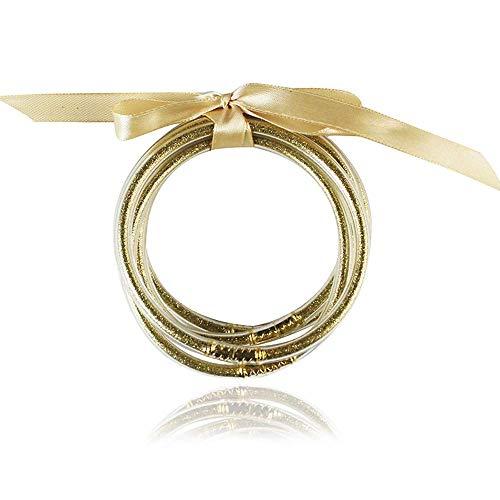 5 Stks Glitter Jelly Bangle Set All Weather Armbanden Goud Poeder Voering Lichtgewicht Mode Sieraden Leuke Armbanden voor Meisjes Vrouwen (Champagne)