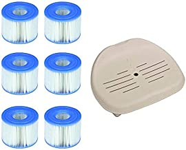 Intex Seat for Inflatable PureSpa Hot Tub & S1 Pool Filter Cartridges (6 Pack)