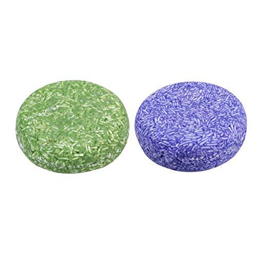 Artibetter 2 pcs de shampoing solide barre de cheveux bio barres de savon essence de plante shampoing revitalisant pour les cheveux (vert menthe + lavande violet)