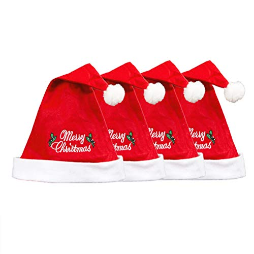 PRETYZOOM 4pcs Weihnachtsmützen Vliesstoffe Weihnachtsmützen Gestickte englische Buchstaben Weihnachtsmützen