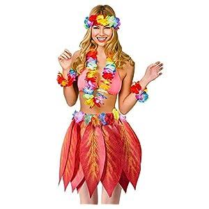 SWCarry Set Ti Leaf Hula Skirt Hawaiian Leaf Skirt Beach Luau Party Girl RED Maple Grass Skirt boy with Leis Headband Bracelets Garland Costume Artificial Hibiscus Flowers Supplies 5pcs