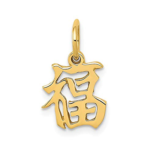 14k Yellow Gold Chinese Symbol Good Luck Pendant Charm Necklace Italian Horn Fine Jewelry For Women Gifts For Her