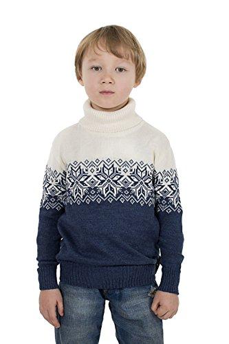 Natural Style Exklusiver Kinder Jungen Mädchen Rollkragenpullover aus Wolle (Merino), Größe 86/92, Farbe Blau-Weiß