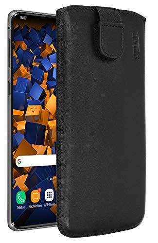 mumbi Echt-Ledertasche kompatibel mit Samsung Galaxy S10, Tasche Leder Etui schwarz inkl. Lasche mit Rückzugfunktion/Ausziehhilfe