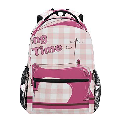 DEZIRO Pink Vintage Sewing Machine School Pack Weaving Backpacks