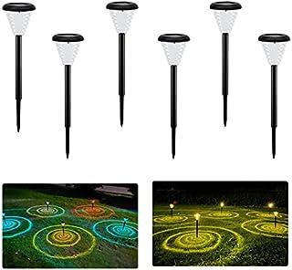 Bojim Lampe Solaire Exterieur Jardin, 6x Spot Solaire Exterieur Blanc chaud RGB, Lumiere Solaire Exterieur IP55 Imperméabl...
