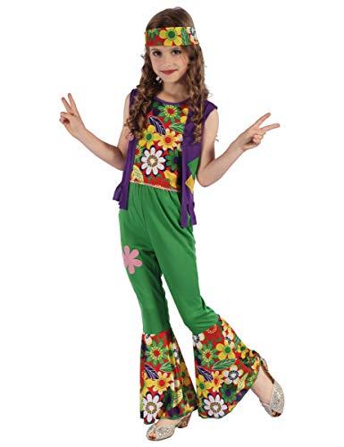 Vegaoo - Disfraz de Hippie Flower Power niña - XS 3-4 años (92-104 cm)