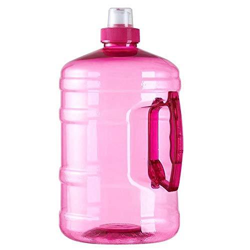 RUIRUI 2L Boca Grande Botella de Agua Plástico de Calidad alimentaria con Mango Tornillo a Prueba de Fugas Tapa Superior Cubo de Aptitud Casa/al Aire Libre (Color : Pink)