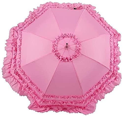 Paraguas, Paraguas portátil, Encaje Dual Encaje Anti-UV Parasol Paraguas Vintage Plegable Sol...