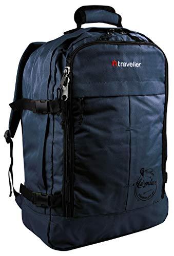 Traveller Handgepäck Rucksack 55x40x20 Leicht für Ryanair und Easyjet, Flugzeug Kabinenrucksack, Bordgepäck Handgepäcktasche, Blau