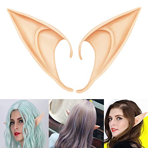 COOLJOY 1 Pair Cosplay Fairy Pixie Elf Ears Accessories Halloween Party Anime Party Costume (Light Complexion, Long Style)
