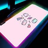 Alfombrilla de ratón Kawaii rosa linda RGB Mouse Pad Gamer Accesorios de computadora Decoración de escritorio Anime Gato LED retroiluminado XXL Mouse Mat 1000x500 MM