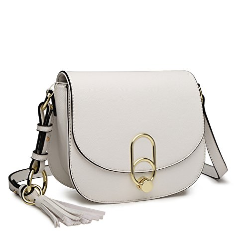 Miss Lulu Women Cross body Bag Fashion Tassel Decoration Zipper Handbags Flap with Lock Closure Shoulder Bag (White)