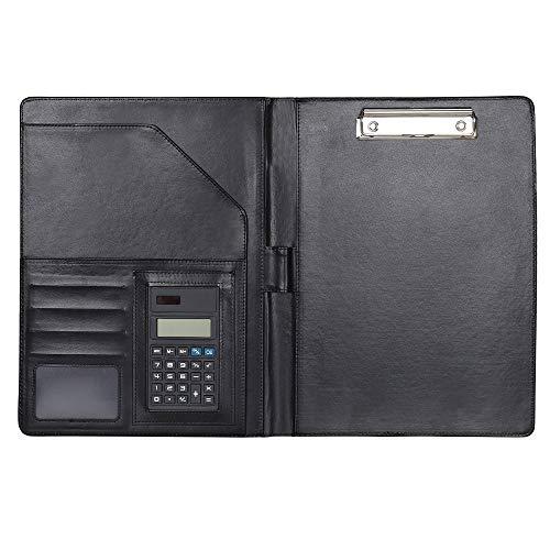 Cartella Portadocumenti A4 Porta documenti Organizer borsa con Calcolatrice, Portablocchi in Pelle PU per Business Conferenza Intervista Viaggi