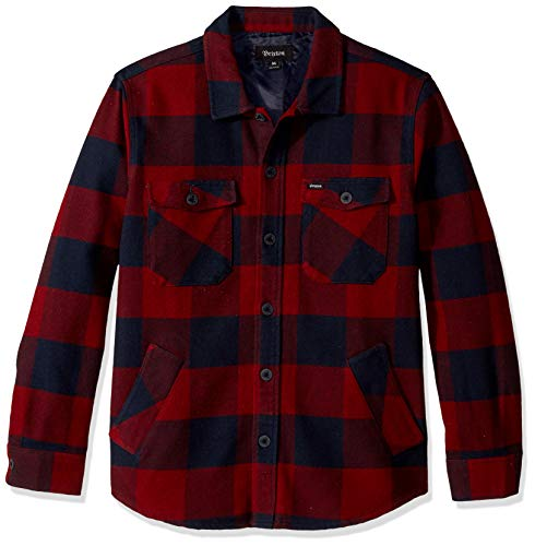 Brixton Men's Durham Relaxed FIT Long Sleeve Flannel Shirt, Navy/Red, M