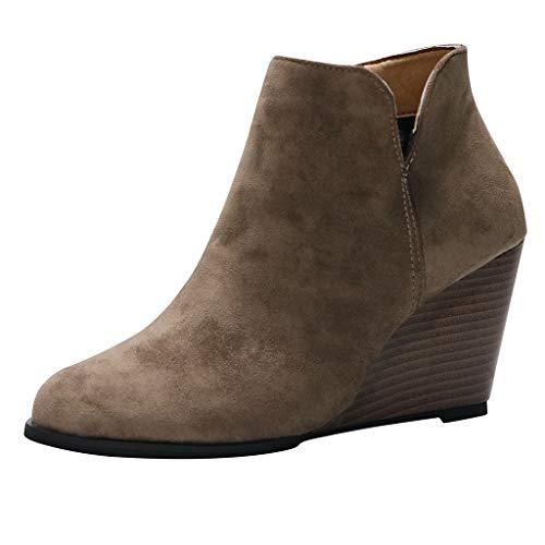 MOTOCO Frauen Booties Damen Keilabsatz Block Wildleder Stil Zip Volltonfarbe Western Stiefeletten(41 EU,Khaki)