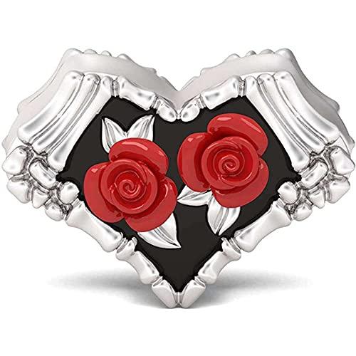 chaosong shop Abalorio de plata de ley 925 con diseño de rosa roja con texto en inglés 'Love Will Never Fade' para pulsera, regalo para mujeres y niñas