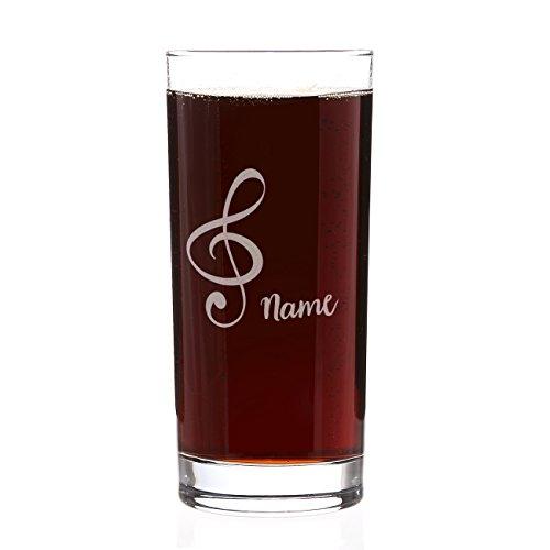 Herz & Heim® Trinkglas für Musiker mit Gravur des Namens und einem Notenschlüssel