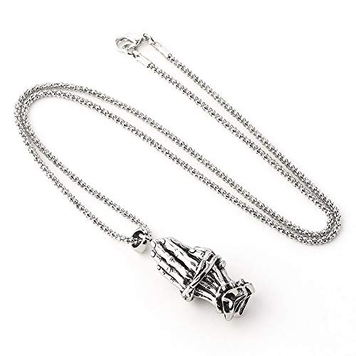 xtszlfj Punk Prayer Hand Necklace Solid Hands Together Model Pendants Men's Necklace...